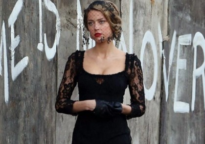 Amber Heard filming LONDON FIELDS on location