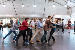 Chichester Festival Theatre production of Mack and Mabel. Rebecca LaChance and the Company in rehearsals. Photo by Manuel Harlan. REH-70